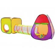 Set Cort de Joaca pentru Copii tip Iglu cu Tunel si 200 de Bile Plastic