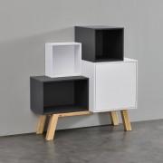 [en.casa] Estantería de oficina - Estante de libros - Multicolor - Consola con 4 compartimentos 98 x 90 x 40 cm