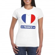 Bellatio Decorations Frankrijk hart vlag t-shirt wit dames