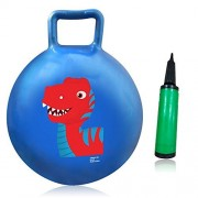 3 Bees & Me Hopper Ball Hippity Hop Toy with Air Pump - Dinosaur Bouncy Ball with Handle - Indoor Outdoor Bounce Ball Toy for Kids Age 3 to 6 Years