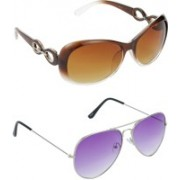 Hrinkar Over-sized Sunglasses(Brown, Violet)