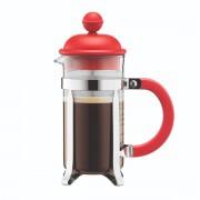 Bodum CAFFETTIERA Cafetière à piston avec couvercle en plastique, 3 tasses, 0.35 l, acier inox Rouge