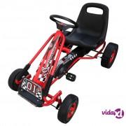 vidaXL Crveni Go kart s podesivim sjedalom pedalama