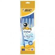 Bic Penna A Sfera Con Cappuccio Ventilato Inchiostro Blu - Cristal Soft Blister Appendibile 4 Penne