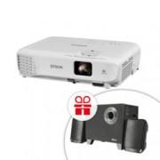 Проектор Epson EB-W05 с подарък тонколони Trust Evon, 3LCD, WXGA (1280 x 800), 15,000:1, 3300 lm, HDMI, USB Type A, USB Type B, VGA, бял + подарък Тонколони Trust Evon, 2.1, 15W RMS, Bluetooth, RCA, черни
