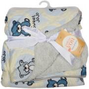 CANNON BABY BLANKET BEAR PRINT GREY-CREAM-BLUE