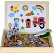 Tabla magnetica din lemn cu 2 fete si puzzle Happy Farm Jigsaw Puzzle Set 7 piese