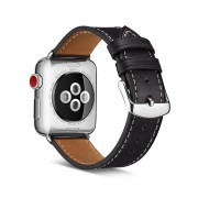 Top Layer Cowhide Leather Watch Band for Apple Watch Series 4 40mm, Series 3 / 2 / 1 38mm - Black