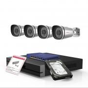 Kit videosorveglianza Foscam Hd con NVR 4CH e 4 cam da esterno PoE