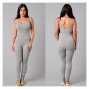 Mujeres Pantalones Siameses Deportivos Yoga Monos De Sexy Con Pantalones Largos -Gris