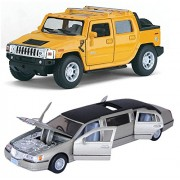Kinsmart Playking Combo Of 2005 Hummer H2 Sut And 1999 Lincoln Town Car Stretch Limousine 5'' Die Cast Metal - Random Color