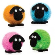 Mini Pom Pom Fluffy Sheep - 10 Tiny Sheep Display Decorations In 4 Assorted Colours. 2cm.