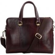 Clubb Original Pure Leather Sleek Unisex Laptop Messenger Portfolio Bag Medium Briefcase - For Men(Tan)