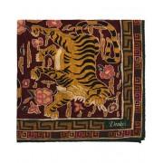 Drake's Printed Wool/Silk Jumbo Tiger Pocket Square Orange