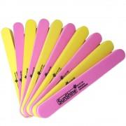 10 Stks/partij Double Side Sunshine Buffer Schuren File Roze & Geel 100/180 Grits Manicure Nail Art Tool Set MyXL