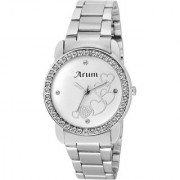 Arum Silver Round Dial Stainless Steel Strap Fashion Wrist Watch for Women's and Girl's ASWW-023