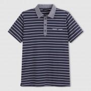 Polo met korte mouwen in jersey, kraag in chambray