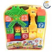 SAISAN Learning Blocks Toy with Cartoon Figures Bag Packing for Kids, (Block 40Set JH006, Multicolour) - Set of 40 Pieces