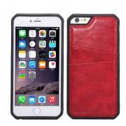 Силиконов гръб с кожа за Apple iPhone 6 / 6S Червен
