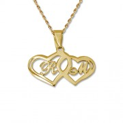 Personalized Men's Jewelry 14K Gold Couples Hearts Pendant Necklace 101-01-102-01