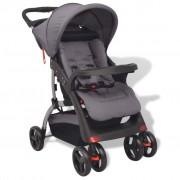 vidaXL Бебешка количка тип бъги, сива, 102x52x100 см