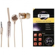 BrainBell COMBO OF UBON Earphone MT-32 METAL SERIES WITH NOISE ISOLATION WITH PRECISE BASS HIGH FIDELIETY SOUND And LG STYLUS 2 Glass Screen Protector