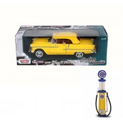 Chevy Diecast Car & Gas Pump Package - 1955 Chevy Bel Air Closed Convertible, Yellow - Motor Max 73184TC - 1/18 Scale Diecast Model Toy Car w/Gas Pump