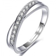 Om Jewells Cz Jewellery Adjustable Trendy Cross Band Ring Studded with Cz Stones made for Girls and Women FR1000933