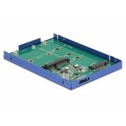 """Adaptor micro USB-B 3.1 la M.2 SSD key B / mSATA cu rack extern 2.5"""", Delock 62731"""