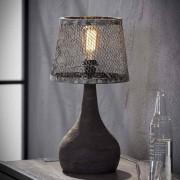Tischlampe in Kupferfarben Metall Massivholz