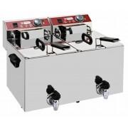 Diamond Friteuse de Comptoir Electrique PRO 2x10 Litres robinet de vidange 9 kW 560x450x(H)375mm