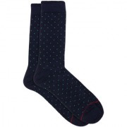 Soxytoes Dot It Down Blue Cotton Calf Length Pack of 1 Pair Polka Dot for Men Formal Socks (STS0025B)