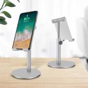 Aluminum Alloy Universal Desktop Stand Holder Bracket 360 Degree Rotation for Phones and Tablets - Silver