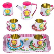 Happy Sunflower Garden Picnic Tin Tea Party Set For Kids Metal Teapot And Cups Kitchen Playset