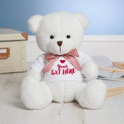 Personalized White Teddy Bear Soft Toy wearing Customized Photo and Message Tshirt