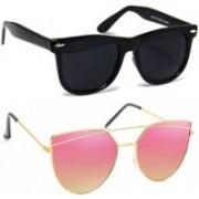 shadz Wayfarer Sunglasses(Black, Red)