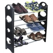 IBS Simple Standing Home Organizer Stackable Shoe Rack Plastic Steel Collapsible (4 Shelves)