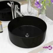vidaXL Keramički okrugli umivaonik 40 x 15 cm crni