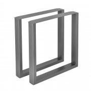 [en.casa] 2 x Conjunto de Patas de mesa - Set de 2x patas de mesa - Metal - Patas de los muebles - 70 x 72 cm - Para mesa de comedor - Armazón de mesa - Con protección para suelo - Gris metálico