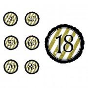 Creative Globo de cumpleaños negro y dorado con número de 45 cm - Número 30