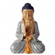 Merkloos Zittend Boeddha tuinbeeld gekleurd 50 cm