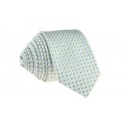 Pánská bílá slim kravata s tečkami - 6 cm