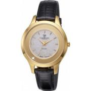Ceas de dama Swiss Made Negru Cadran Alb cu sclipici 1 diamant curea din piele naturala neagra Christina Watches Collect