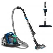 Aspirator fara sac Philips PowerPro Active FC9552/09, 650 W, 1.5 L, Filtru anti-alergeni, Cap de aspirare TriActive+, Perie pentru podele dure, Perie pentru mobilă, Roţi cauciuc, Albastru intens