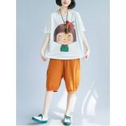 Meco Women Patchwork Short Sleeves Cartoon T-shirts