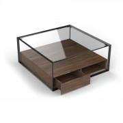 DECOME Table basse en verre et métal 2 tiroirs bois noyer Ravy