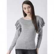 Club York women's round neck full sleeve solid sweater with flared sleeve