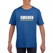 Shoppartners Blauw Zweden supporter t-shirt voor kinderen