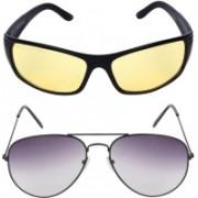 Aligatorr Aviator, Retro Square Sunglasses(Yellow, Grey)