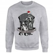 Star Wars Happy Holidays Droids Grey Christmas Sweatshirt - S - Grey
